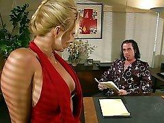 Blond office slut sucking her boss off