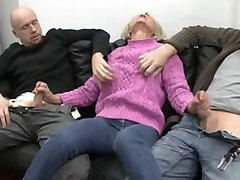 Saggy german granny fucked by two guys