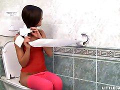 Lovely Caprice gets her pussy eaten in the toilet