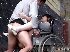 Nasty Japanese nurse sucks cock in front of a voyeur