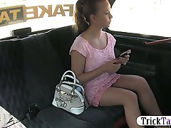Big boobs amateur blonde girl pussy banged in the cab