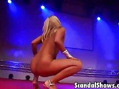 Naughty blonde stripper fucks dildo