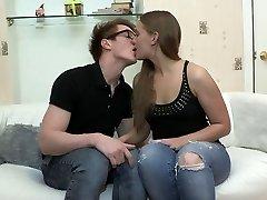 youthful couple poke