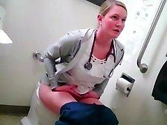 platinum-blonde nurse in wc