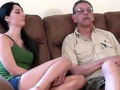 young chick first time drilling with elder man