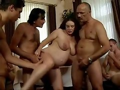 dad's Friends Gang-fuck his pregnant daughter
