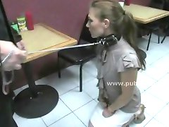 Men slut in fast food spanking the slave before fucking her