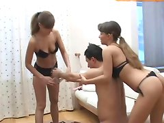 guy get dominated by two girls