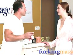 Massage Rooms Deep and intense fuck makes redhead squirt