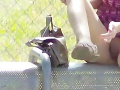 Exhibitionist Wife Lana Flashing Upskirts To Strangers At Bus Stop!