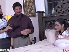 Latina Step-Mom and Guy Teach her Daughter