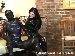 Glamour lesbian duo in lycra spandex and latex