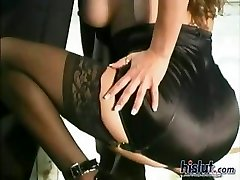 Justine goes down on his fat cock until he sprays her with jizz