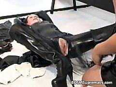 Slutty brunette MILF in rubber massage