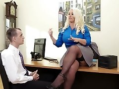 Curvy lady boss Alura Jenson fucked in a missionary posture in the office