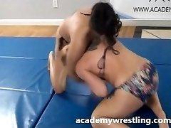 Tight Choke Subordination Between Dominant Dame on academy wrestling