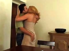 Sexy blonde mature in stockings likes man's milk