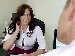 Mature hungry chief mouth ravages big boobed brunette strumpet in his office hard