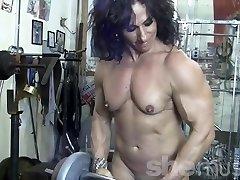 Annie Rivieccio Naked Woman Bodybuilder in the Gym