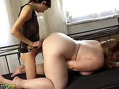 OldNanny Chubby big-chested granny masturbate with strap on dildo and tee