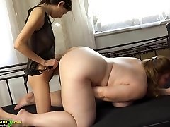 OldNanny Chubby busty grandma masturbate with strapon and tee