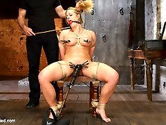 Gorgeous big tit blonde Holly Heart is BACK as a hot fucking MILF! Recorded during our last live show, Holly Heart takes requests from viewers and fulfills them all throughout the shoot.Super tight crotch-rope predicament puts our MILF between a rock and hard place and all she can do is suffer, squirm and beg. But things only get tougher for her when she is tied to a chair, her pussy pinned open and her clit vibed to screaming orgasm after orgasm.Relief arrives in the form of a big black rubber dick that fucks the shit out of her helpless pussy. MILF-ey slut come so many time that she can't keep count and in the end is completely wrecked and satisfied by a very challenging live show.