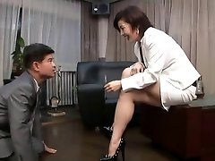 asian foot female dominance smoking with ciggy holder