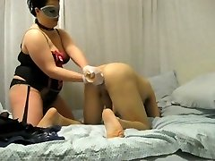 BBW dominatrix destroys his ass with knuckle and strap on