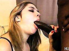 Slut sucking on big black cock