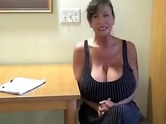 Secretary With Big Tits Masturbating