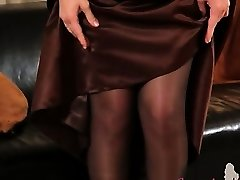 Dark-hued pantyhose and ultra hot stocking