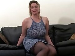 Blonde gigantic mature gets fucked by two black dudes