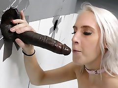 Gloryhole Hoe Cadence Lux Sucks Black Cock