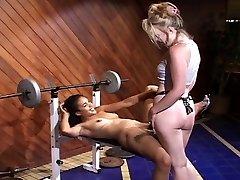 Interracial gym girls smashing each other