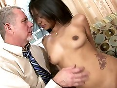 Delightful Indian beauty Ruby Rayes plays with phat manmeat of aged man