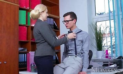 Mother Blonde big globes Milf sucks massive geek cock