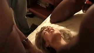 Slut wife gang-fucked by black guys in hotel pumping out