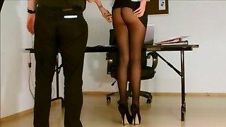 Secretary pantyhose uncovered.