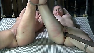 Duo of tied up insane chicks rest in 69 pose and got fuck stick attacked hard