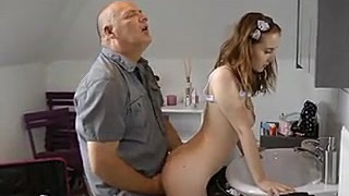 youthful redhair torn up by dad best friend