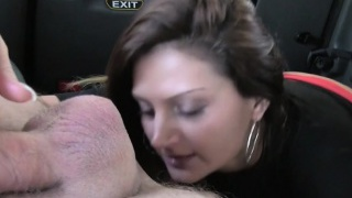 Bad dark-haired gives ass job in a cab