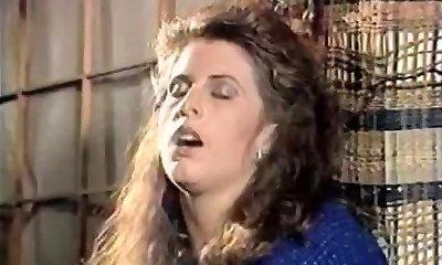 Girl in doorway rubs gash 80's