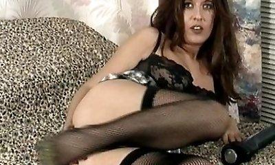 Vintage MILF in black undergarments and stocking