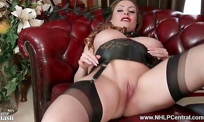 Innate fat tits brunette Sophia Delane wanks in nylon heels