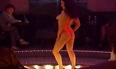 Lesbian striptease strapon session