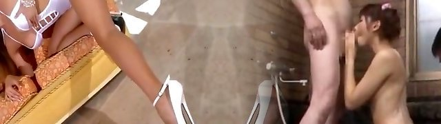Killer light-haired in white swimsuit and high heels
