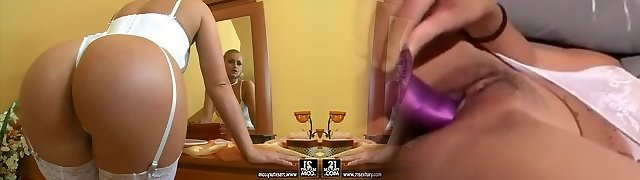 Stunning blonde chick Kathia Nobili poses on a web cam wearing fabulous milky lingerie