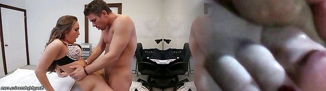 Gorgeous office whore Teal Conrad rides her chief in his office