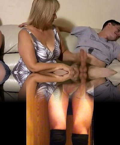 Mother and daughter jerking two men off