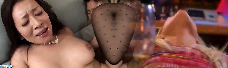 Busty Rei Kitajima deals cock in superb gang vignettes